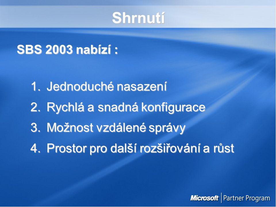 Shrnutí SBS 2003 nabízí : 1.Jednoduché nasazení 2.Rychlá a snadná konfigurace 3.Možnost vzdálené správy 4.Prostor pro další rozšiřování a růst