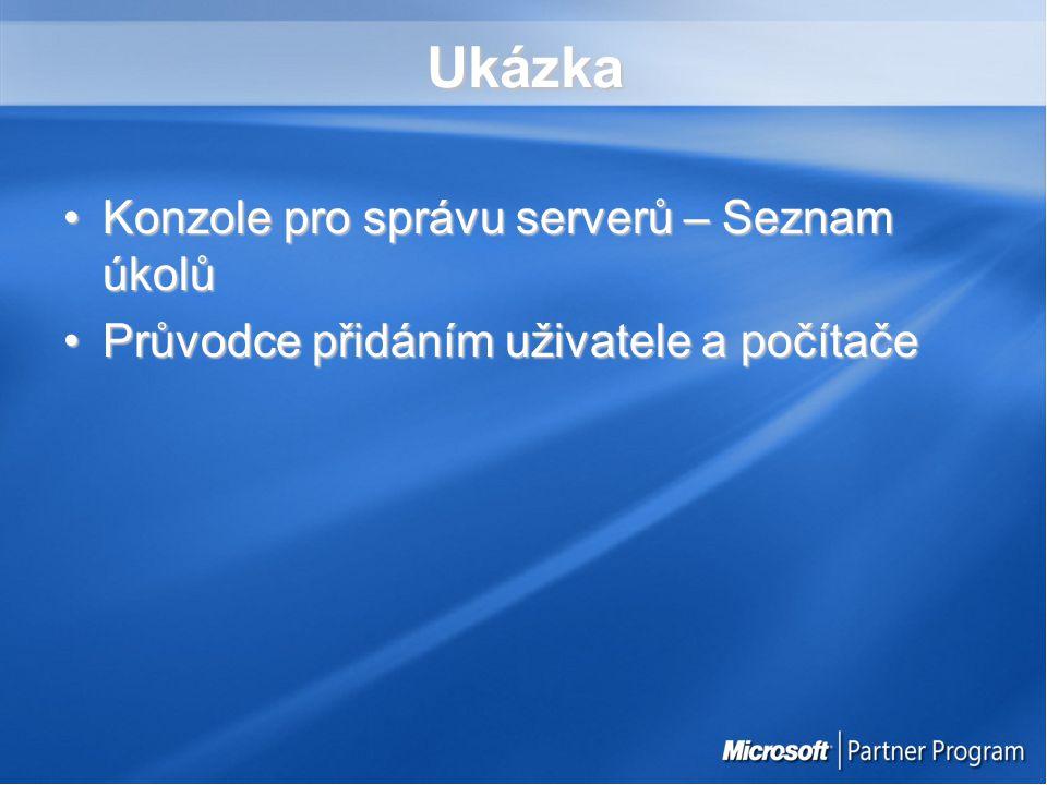 Ukázka Konzole pro správu serverů – Seznam úkolůKonzole pro správu serverů – Seznam úkolů Průvodce přidáním uživatele a počítačePrůvodce přidáním uživatele a počítače
