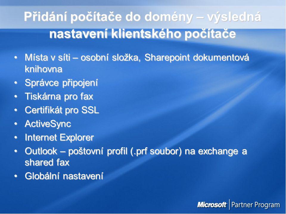 Buďte aktualizovaní ServerServer HotFixy – Windows Update nebo http://www.microsoft.com/windowsserver2003/sbs/downloads /default.mspxHotFixy – Windows Update nebo http://www.microsoft.com/windowsserver2003/sbs/downloads /default.mspx http://www.microsoft.com/windowsserver2003/sbs/downloads /default.mspx http://www.microsoft.com/windowsserver2003/sbs/downloads /default.mspx Service Packy (Exchange 2003 SP1, WSS SP1, ISA 2000 FP)Service Packy (Exchange 2003 SP1, WSS SP1, ISA 2000 FP) Stanice – jak na to ?Stanice – jak na to .