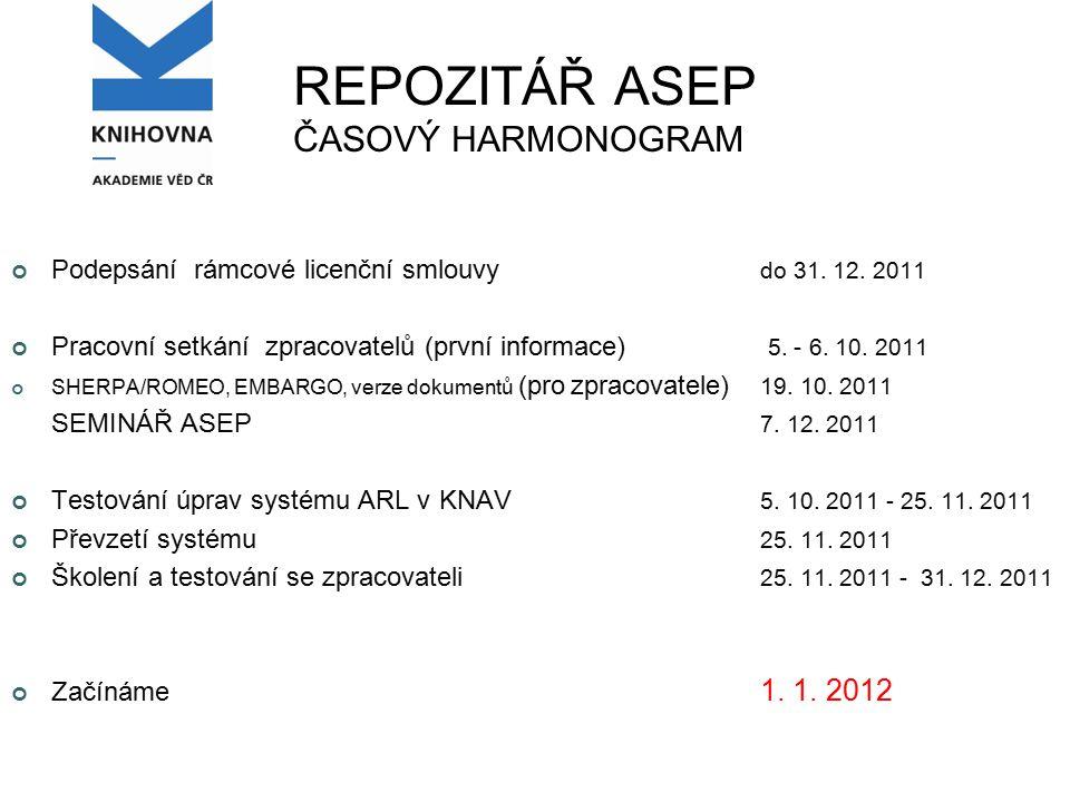 REPOZITÁŘ ASEP ČASOVÝ HARMONOGRAM Podepsání rámcové licenční smlouvy do 31.
