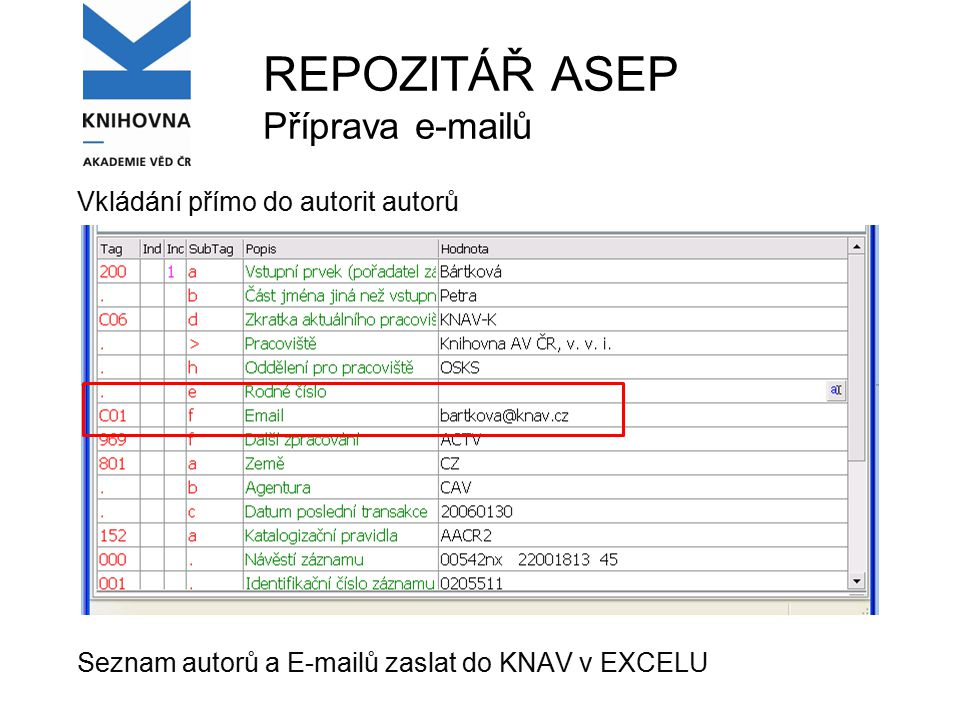 REPOZITÁŘ ASEP Příprava e-mailů Vkládání přímo do autorit autorů Seznam autorů a E-mailů zaslat do KNAV v EXCELU