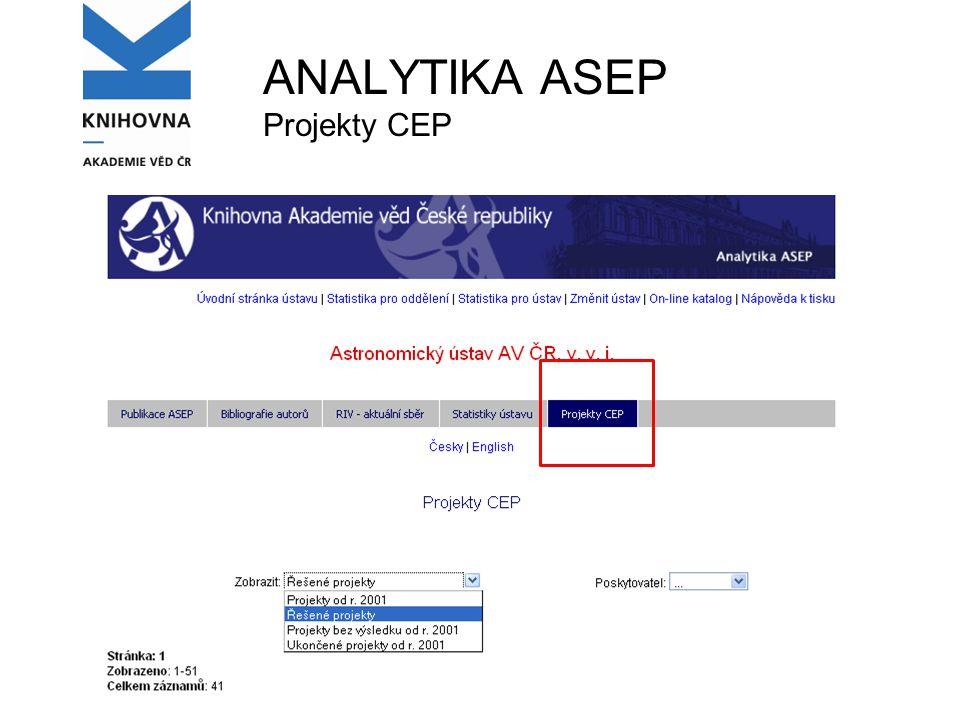 ANALYTIKA ASEP Projekty CEP