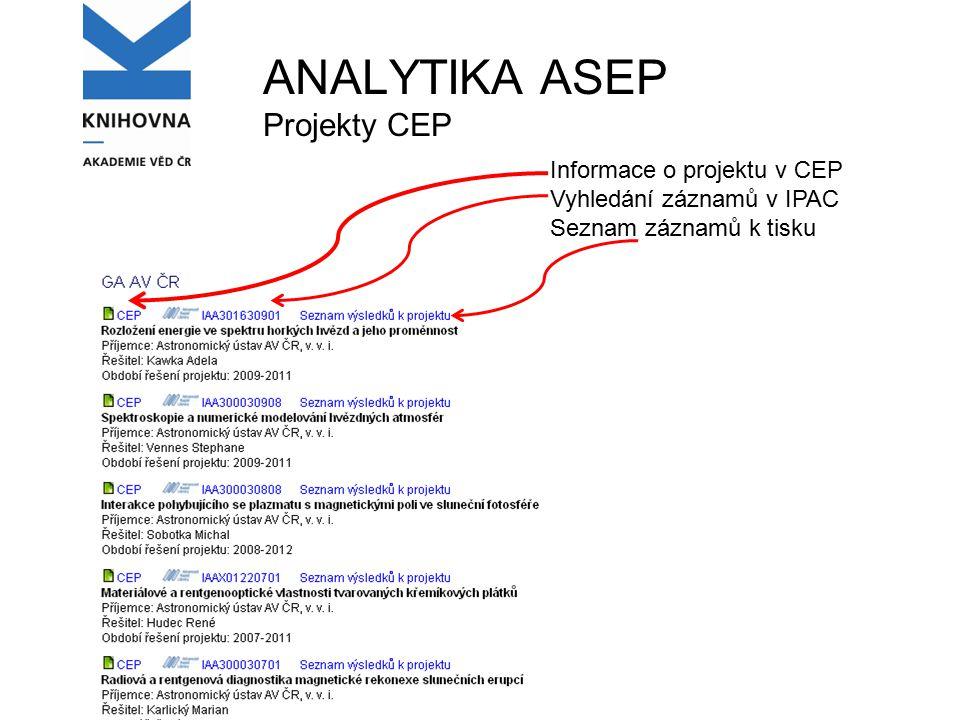 Informace o projektu v CEP Vyhledání záznamů v IPAC Seznam záznamů k tisku