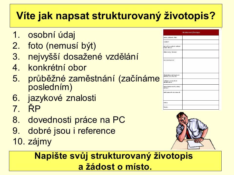 1.osobní údaj 2.foto (nemusí být) 3.nejvyšší dosažené vzdělání 4.konkrétní obor 5.průběžné zaměstnání (začínáme posledním) 6.jazykové znalosti 7.ŘP 8.