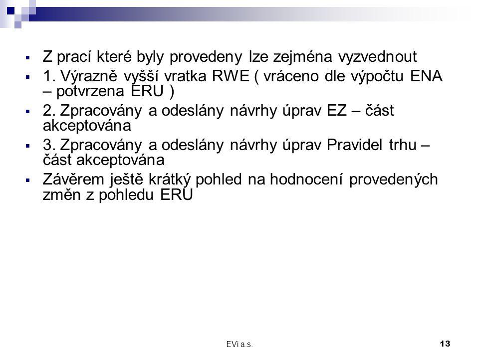 EVi a.s.13  Z prací které byly provedeny lze zejména vyzvednout  1.