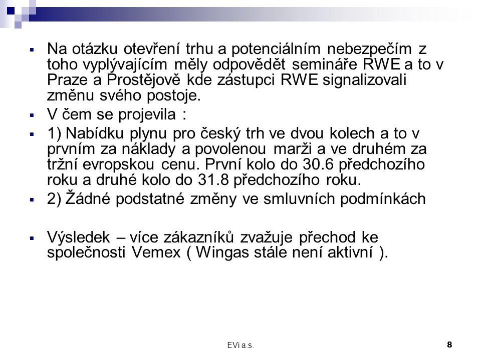 EVi a.s.8  Na otázku otevření trhu a potenciálním nebezpečím z toho vyplývajícím měly odpovědět semináře RWE a to v Praze a Prostějově kde zástupci RWE signalizovali změnu svého postoje.
