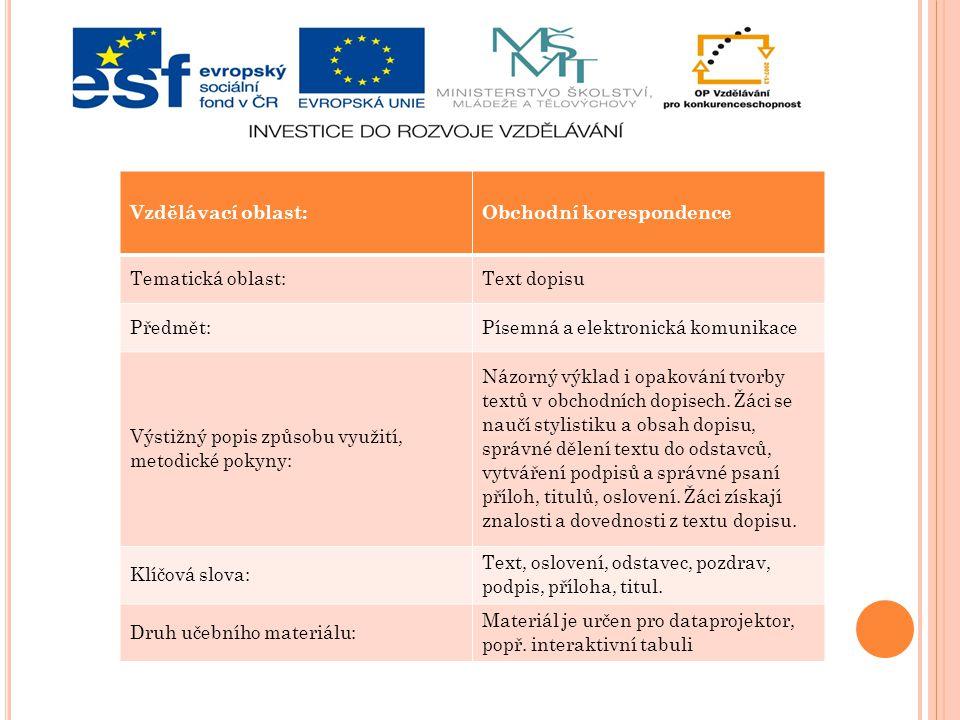 Vzdělávací oblast:Obchodní korespondence Tematická oblast:Text dopisu Předmět:Písemná a elektronická komunikace Výstižný popis způsobu využití, metodi