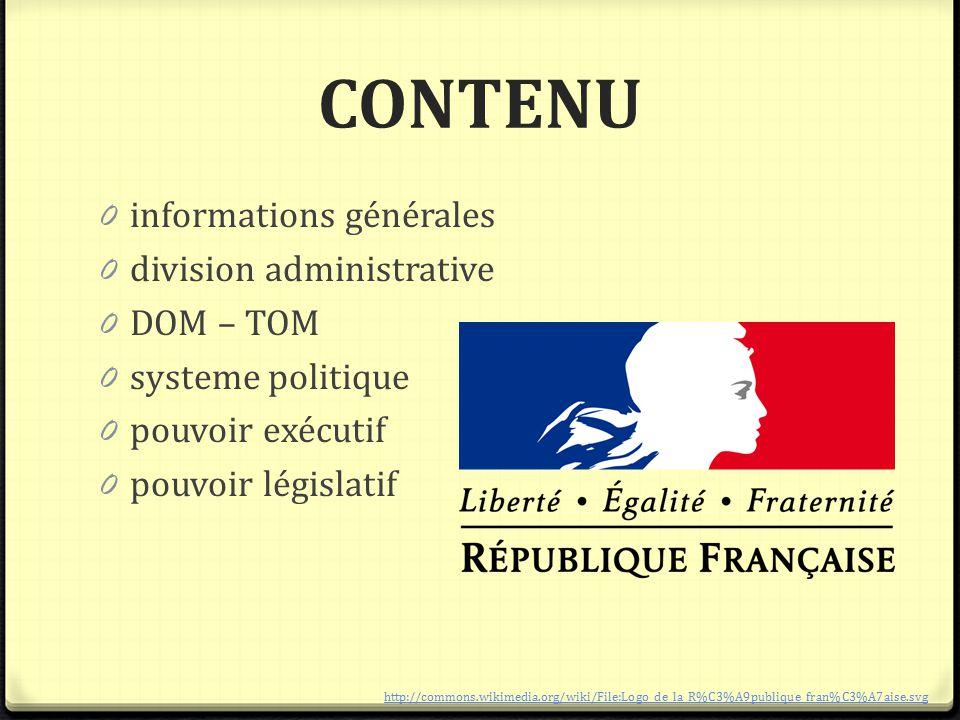 CONTENU 0 informations générales 0 division administrative 0 DOM – TOM 0 systeme politique 0 pouvoir exécutif 0 pouvoir législatif http://commons.wiki