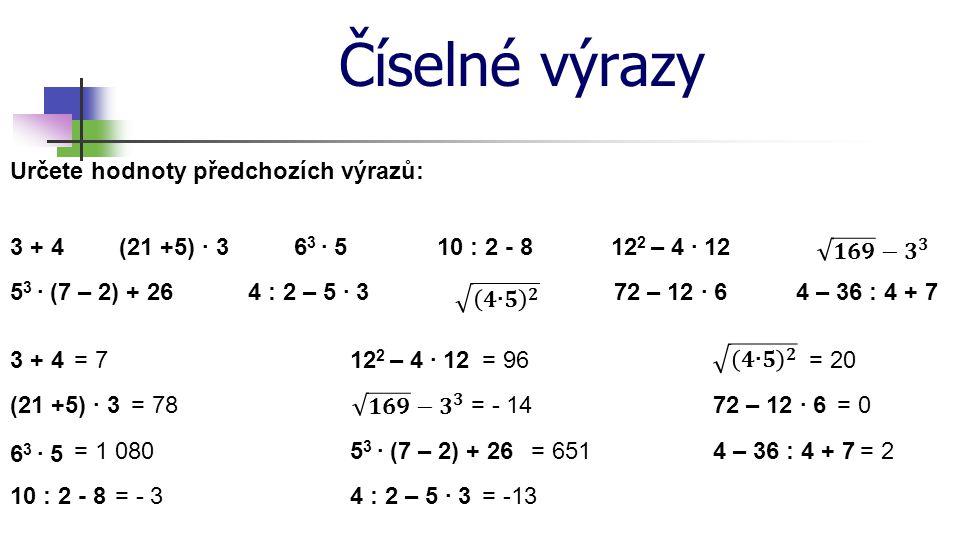 Číselné výrazy Určete hodnoty předchozích výrazů: (21 +5) · 33 + 410 : 2 - 86 3 · 512 2 – 4 · 12 4 : 2 – 5 · 35 3 · (7 – 2) + 2672 – 12 · 64 – 36 : 4 + 7 = 7 = 78 = 1 080 = - 3 = 96 = - 14 = 651 = -13 = 20 = 0 = 2 3 + 4 (21 +5) · 3 6 3 · 5 10 : 2 - 8 12 2 – 4 · 12 5 3 · (7 – 2) + 26 4 : 2 – 5 · 3 72 – 12 · 6 4 – 36 : 4 + 7