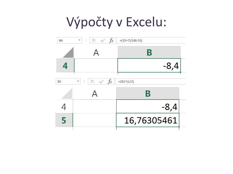 Výpočty v Excelu: