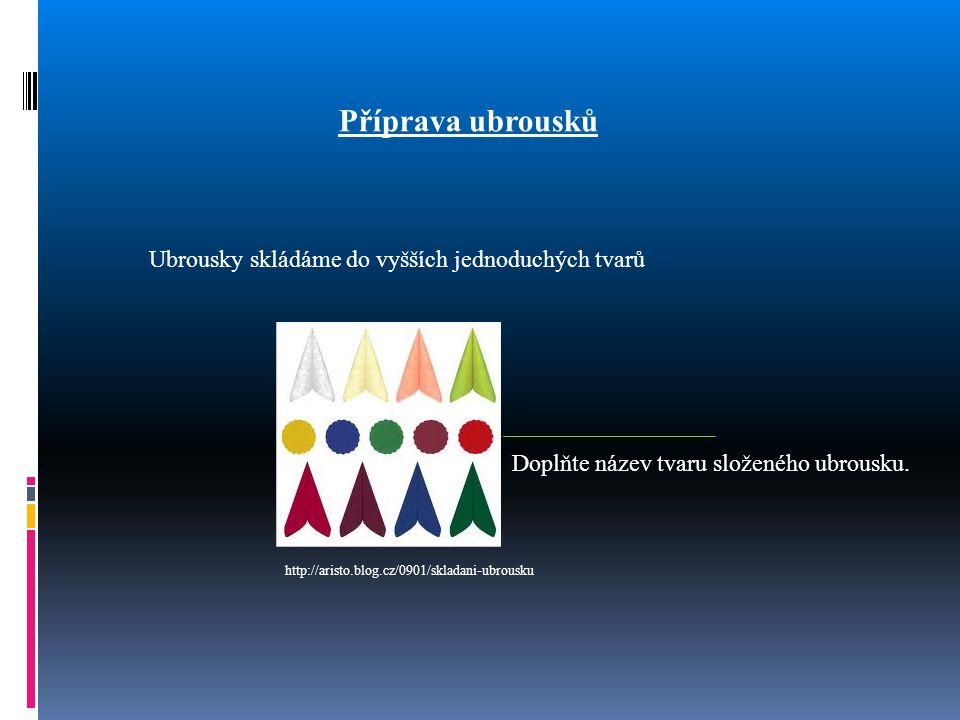 Příprava ubrousků Ubrousky skládáme do vyšších jednoduchých tvarů Doplňte název tvaru složeného ubrousku. http://aristo.blog.cz/0901/skladani-ubrousku