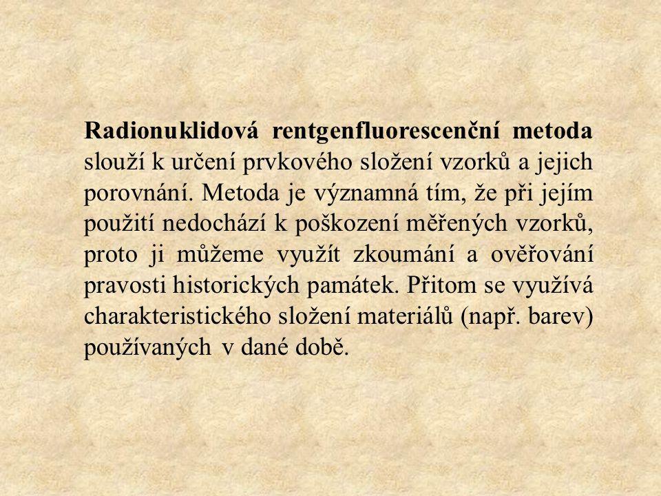 Radionuklidová rentgenfluorescenční metoda slouží k určení prvkového složení vzorků a jejich porovnání.