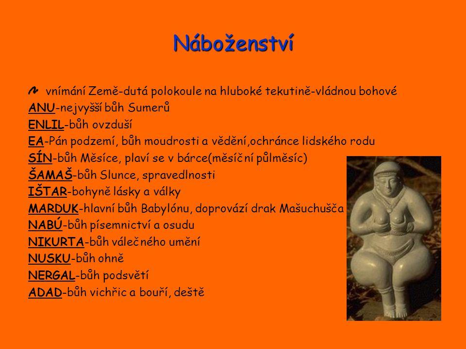 Náboženství vnímání Země-dutá polokoule na hluboké tekutině-vládnou bohové ANU-nejvyšší bůh Sumerů ENLIL-bůh ovzduší EA-Pán podzemí, bůh moudrosti a v