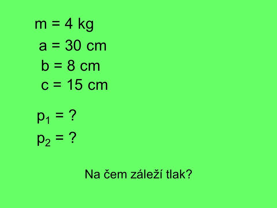 m = 4 kg a = 30 cm b = 8 cm c = 15 cm p 1 = p 2 = Na čem záleží tlak