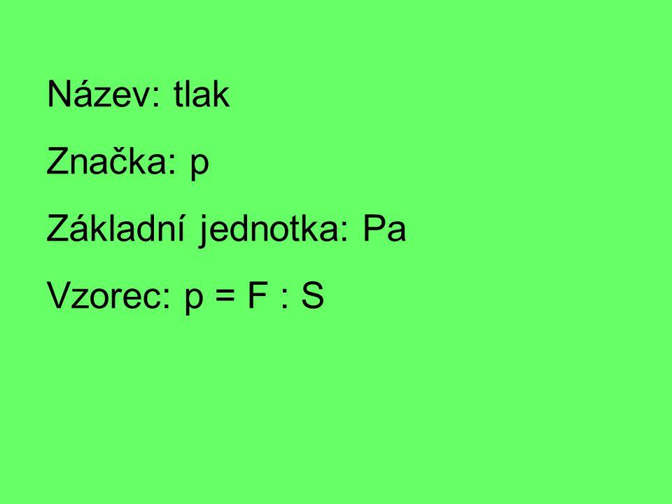 Název: tlak Značka: p Základní jednotka: Pa Vzorec: p = F : S