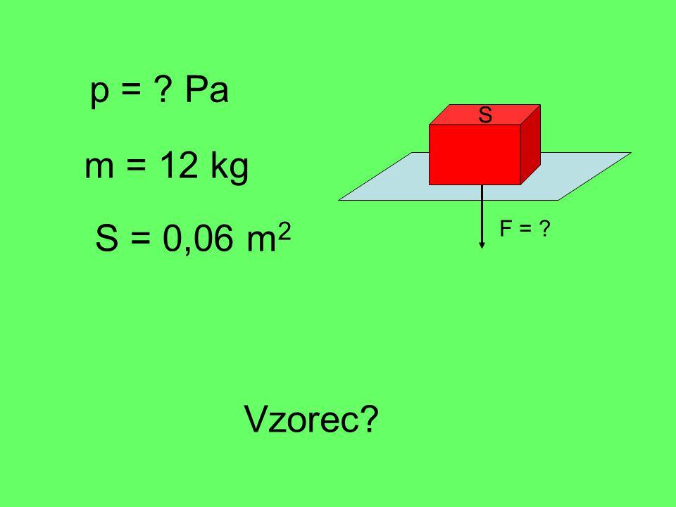 p = Pa m = 12 kg S = 0,06 m 2 Vzorec F = S
