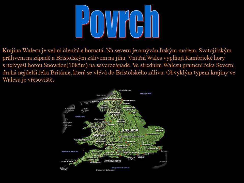 Krajina Walesu je velmi členitá a hornatá. Na severu je omýván Irským mořem, Svatojiřským průlivem na západě a Bristolským zálivem na jihu. Vnitřní Wa