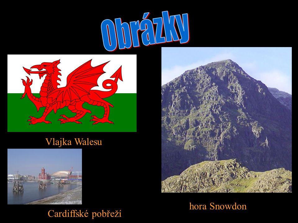 Vlajka Walesu hora Snowdon Cardiffské pobřeží