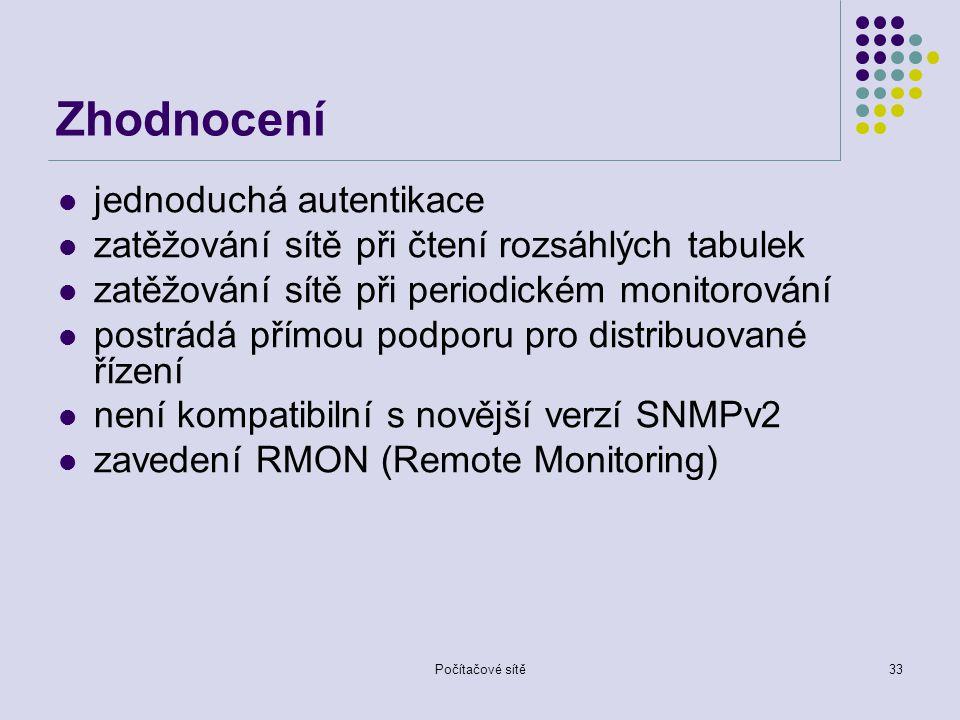Počítačové sítě33 Zhodnocení jednoduchá autentikace zatěžování sítě při čtení rozsáhlých tabulek zatěžování sítě při periodickém monitorování postrádá přímou podporu pro distribuované řízení není kompatibilní s novější verzí SNMPv2 zavedení RMON (Remote Monitoring)