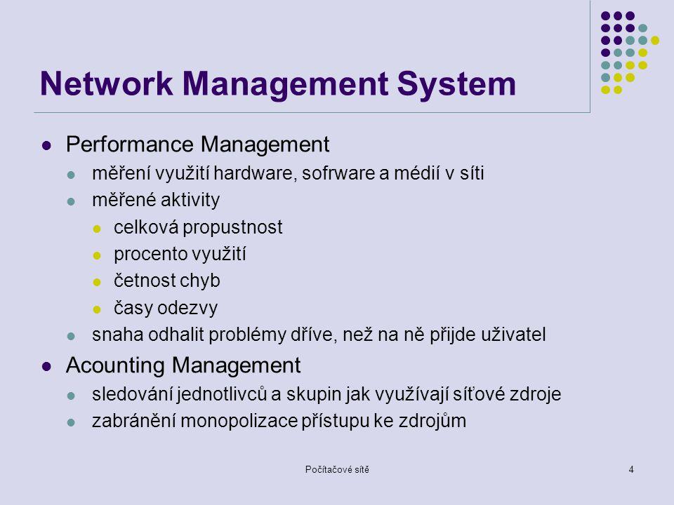 Počítačové sítě4 Network Management System Performance Management měření využití hardware, sofrware a médií v síti měřené aktivity celková propustnost procento využití četnost chyb časy odezvy snaha odhalit problémy dříve, než na ně přijde uživatel Acounting Management sledování jednotlivců a skupin jak využívají síťové zdroje zabránění monopolizace přístupu ke zdrojům