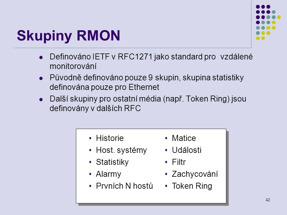 Počítačové sítě42 Skupiny RMON Definováno IETF v RFC1271 jako standard pro vzdálené monitorování Původně definováno pouze 9 skupin, skupina statistiky definována pouze pro Ethernet Další skupiny pro ostatní média (např.