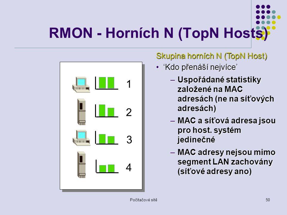Počítačové sítě50 RMON - Horních N (TopN Hosts) 1 2 3 4 Skupina horních N (TopN Host) 'Kdo přenáší nejvíce''Kdo přenáší nejvíce' –Uspořádané statistiky založené na MAC adresách (ne na síťových adresách) –MAC a síťová adresa jsou pro host.