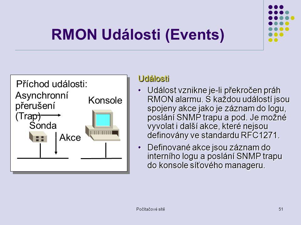 Počítačové sítě51 RMON Události (Events) Sonda Konsole Příchod události: Asynchronní přerušení (Trap) Akce Události Událost vznikne je-li překročen práh RMON alarmu.