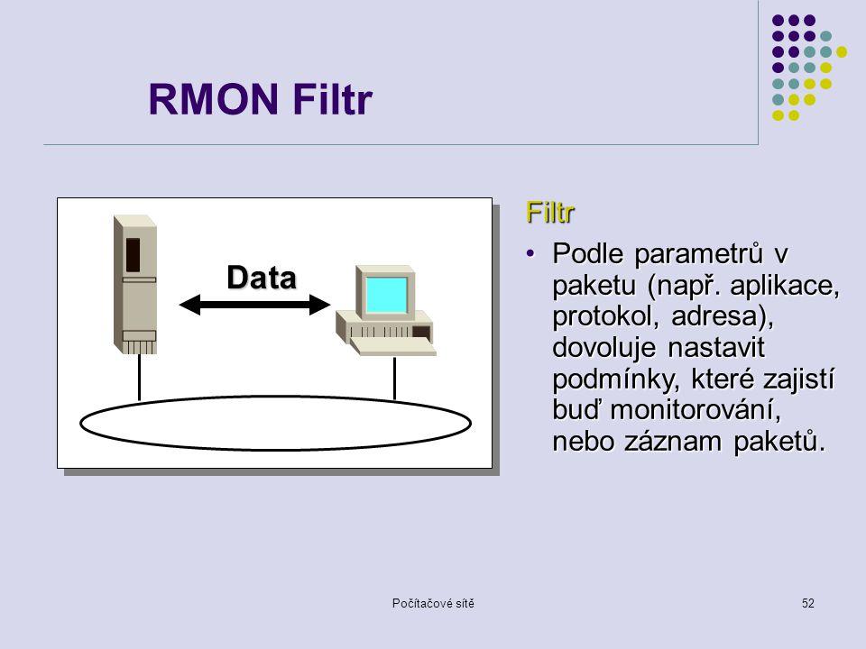 Počítačové sítě52 Data RMON Filtr Filtr Podle parametrů v paketu (např.