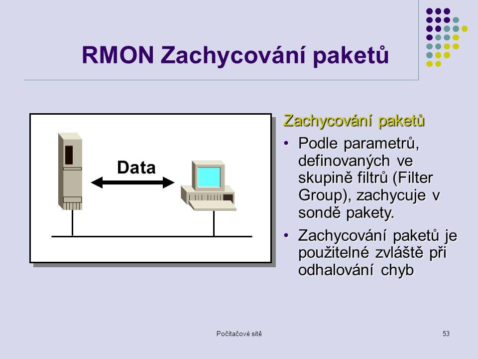 Počítačové sítě53 RMON Zachycování paketů Data Zachycování paketů Podle parametrů, definovaných ve skupině filtrů (Filter Group), zachycuje v sondě pakety.Podle parametrů, definovaných ve skupině filtrů (Filter Group), zachycuje v sondě pakety.
