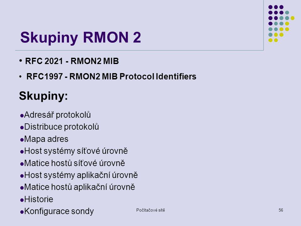 Počítačové sítě56 Skupiny RMON 2 Adresář protokolů Distribuce protokolů Mapa adres Host systémy síťové úrovně Matice hostů síťové úrovně Host systémy aplikační úrovně Matice hostů aplikační úrovně Historie Konfigurace sondy RFC 2021 - RMON2 MIB RFC1997 - RMON2 MIB Protocol Identifiers Skupiny: