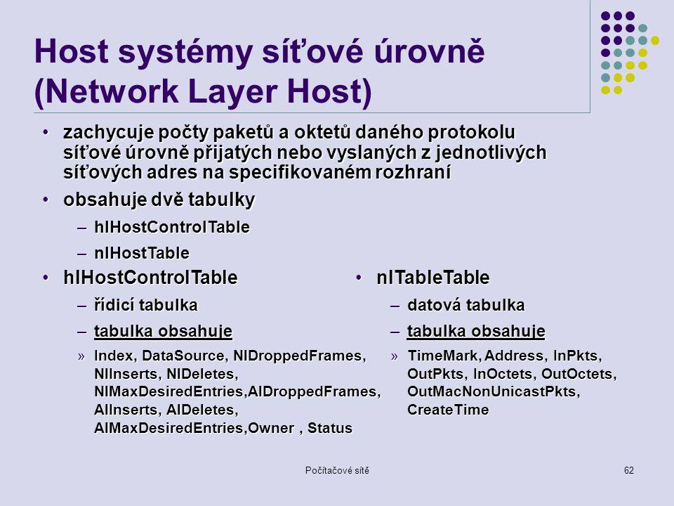Počítačové sítě62 Host systémy síťové úrovně (Network Layer Host) zachycuje počty paketů a oktetů daného protokolu síťové úrovně přijatých nebo vyslaných z jednotlivých síťových adres na specifikovaném rozhranízachycuje počty paketů a oktetů daného protokolu síťové úrovně přijatých nebo vyslaných z jednotlivých síťových adres na specifikovaném rozhraní obsahuje dvě tabulkyobsahuje dvě tabulky –hlHostControlTable –nlHostTable nlTableTablenlTableTable –datová tabulka –tabulka obsahuje »TimeMark, Address, InPkts, OutPkts, InOctets, OutOctets, OutMacNonUnicastPkts, CreateTime hlHostControlTablehlHostControlTable –řídicí tabulka –tabulka obsahuje »Index, DataSource, NlDroppedFrames, NlInserts, NlDeletes, NlMaxDesiredEntries,AlDroppedFrames, AlInserts, AlDeletes, AlMaxDesiredEntries,Owner, Status