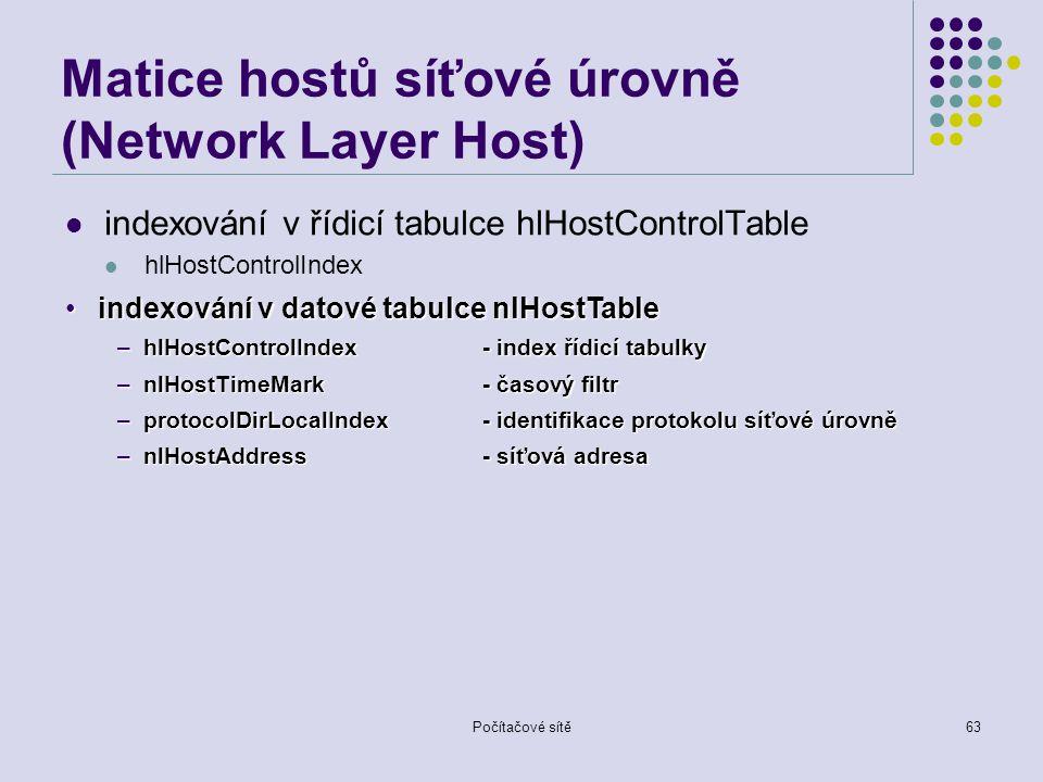Počítačové sítě63 Matice hostů síťové úrovně (Network Layer Host) indexování v řídicí tabulce hlHostControlTable hlHostControlIndex indexování v datové tabulce nlHostTableindexování v datové tabulce nlHostTable –hlHostControlIndex- index řídicí tabulky –nlHostTimeMark - časový filtr –protocolDirLocalIndex- identifikace protokolu síťové úrovně –nlHostAddress- síťová adresa