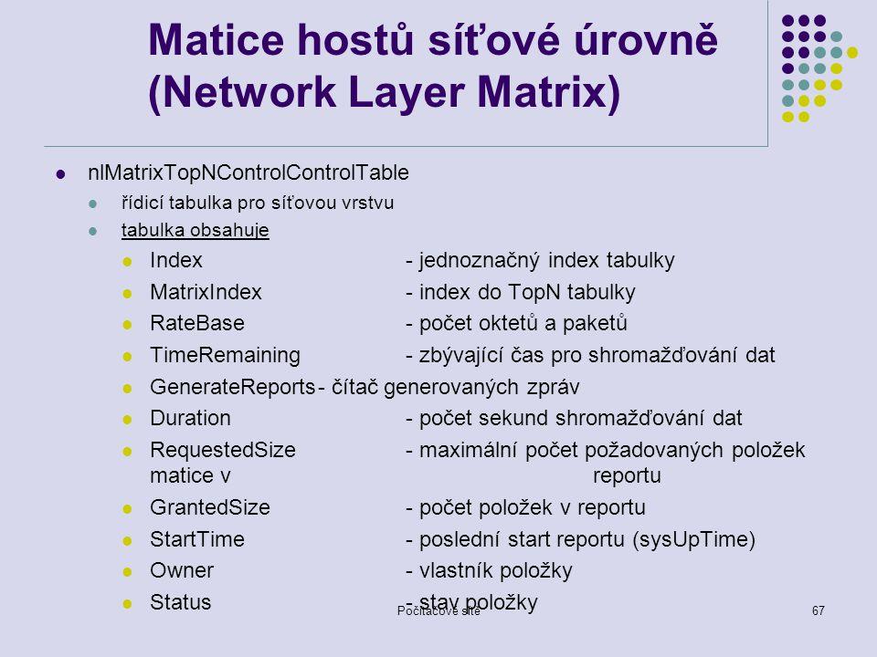 Počítačové sítě67 Matice hostů síťové úrovně (Network Layer Matrix) nlMatrixTopNControlControlTable řídicí tabulka pro síťovou vrstvu tabulka obsahuje Index- jednoznačný index tabulky MatrixIndex- index do TopN tabulky RateBase- počet oktetů a paketů TimeRemaining- zbývající čas pro shromažďování dat GenerateReports- čítač generovaných zpráv Duration- počet sekund shromažďování dat RequestedSize- maximální počet požadovaných položek matice v reportu GrantedSize- počet položek v reportu StartTime- poslední start reportu (sysUpTime) Owner- vlastník položky Status- stav položky