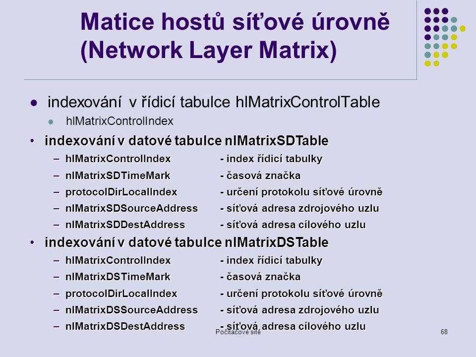 Počítačové sítě68 Matice hostů síťové úrovně (Network Layer Matrix) indexování v řídicí tabulce hlMatrixControlTable hlMatrixControlIndex indexování v datové tabulce nlMatrixSDTableindexování v datové tabulce nlMatrixSDTable –hlMatrixControlIndex - index řídicí tabulky –nlMatrixSDTimeMark - časová značka –protocolDirLocalIndex - určení protokolu síťové úrovně –nlMatrixSDSourceAddress- síťová adresa zdrojového uzlu –nlMatrixSDDestAddress- síťová adresa cílového uzlu indexování v datové tabulce nlMatrixDSTableindexování v datové tabulce nlMatrixDSTable –hlMatrixControlIndex - index řídicí tabulky –nlMatrixDSTimeMark - časová značka –protocolDirLocalIndex - určení protokolu síťové úrovně –nlMatrixDSSourceAddress- síťová adresa zdrojového uzlu –nlMatrixDSDestAddress- síťová adresa cílového uzlu