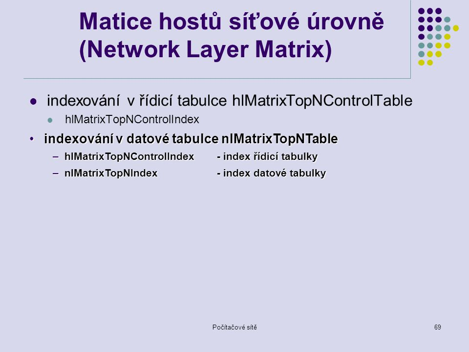 Počítačové sítě69 Matice hostů síťové úrovně (Network Layer Matrix) indexování v řídicí tabulce hlMatrixTopNControlTable hlMatrixTopNControlIndex indexování v datové tabulce nlMatrixTopNTableindexování v datové tabulce nlMatrixTopNTable –hlMatrixTopNControlIndex- index řídicí tabulky –nlMatrixTopNIndex - index datové tabulky