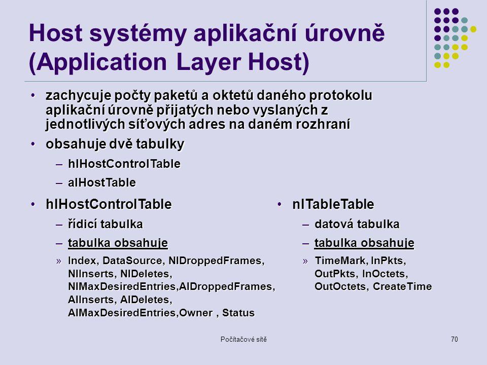 Počítačové sítě70 Host systémy aplikační úrovně (Application Layer Host) zachycuje počty paketů a oktetů daného protokolu aplikační úrovně přijatých nebo vyslaných z jednotlivých síťových adres na daném rozhranízachycuje počty paketů a oktetů daného protokolu aplikační úrovně přijatých nebo vyslaných z jednotlivých síťových adres na daném rozhraní obsahuje dvě tabulkyobsahuje dvě tabulky –hlHostControlTable –alHostTable nlTableTablenlTableTable –datová tabulka –tabulka obsahuje »TimeMark, InPkts, OutPkts, InOctets, OutOctets, CreateTime hlHostControlTablehlHostControlTable –řídicí tabulka –tabulka obsahuje »Index, DataSource, NlDroppedFrames, NlInserts, NlDeletes, NlMaxDesiredEntries,AlDroppedFrames, AlInserts, AlDeletes, AlMaxDesiredEntries,Owner, Status