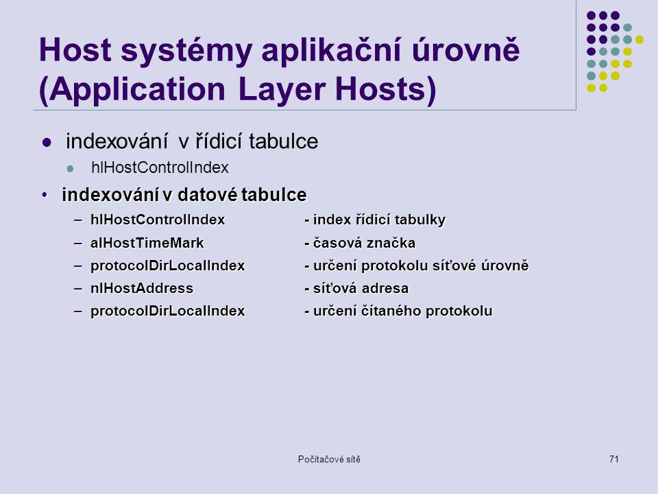 Počítačové sítě71 Host systémy aplikační úrovně (Application Layer Hosts) indexování v řídicí tabulce hlHostControlIndex indexování v datové tabulceindexování v datové tabulce –hlHostControlIndex - index řídicí tabulky –alHostTimeMark - časová značka –protocolDirLocalIndex - určení protokolu síťové úrovně –nlHostAddress- síťová adresa –protocolDirLocalIndex- určení čítaného protokolu