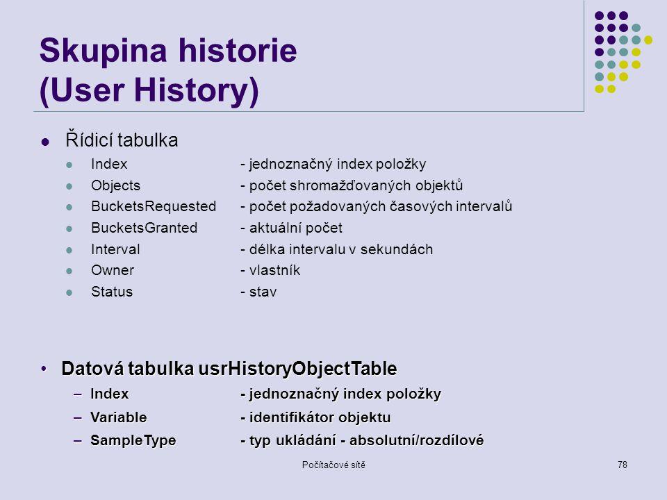Počítačové sítě78 Skupina historie (User History) Řídicí tabulka Index- jednoznačný index položky Objects- počet shromažďovaných objektů BucketsRequested- počet požadovaných časových intervalů BucketsGranted- aktuální počet Interval- délka intervalu v sekundách Owner- vlastník Status- stav Datová tabulka usrHistoryObjectTableDatová tabulka usrHistoryObjectTable –Index- jednoznačný index položky –Variable- identifikátor objektu –SampleType- typ ukládání - absolutní/rozdílové