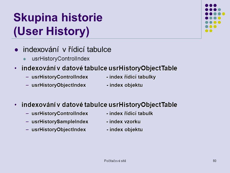 Počítačové sítě80 Skupina historie (User History) indexování v řídicí tabulce usrHistoryControlIndex indexování v datové tabulce usrHistoryObjectTableindexování v datové tabulce usrHistoryObjectTable –usrHistoryControlIndex - index řídicí tabulky –usrHistoryObjectIndex - index objektu indexování v datové tabulce usrHistoryObjectTableindexování v datové tabulce usrHistoryObjectTable –usrHistoryControlIndex - index řídicí tabulk –usrHistorySampleIndex- index vzorku –usrHistoryObjectIndex - index objektu
