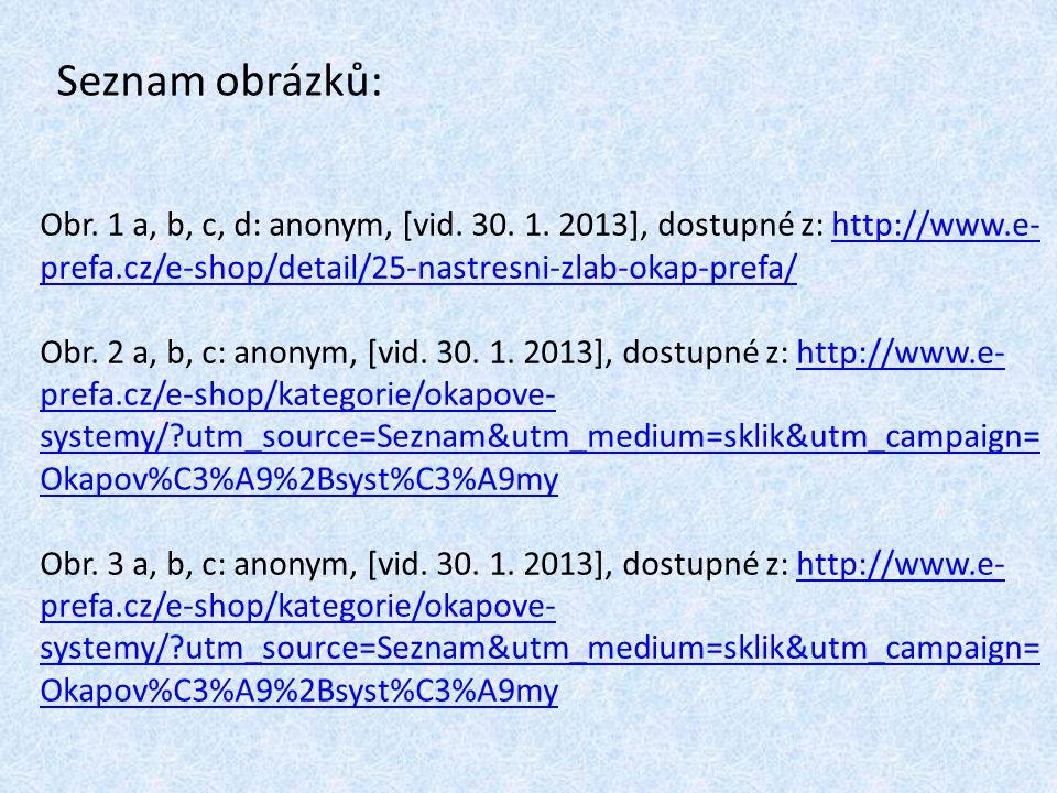 Seznam obrázků: Obr.1 a, b, c, d: anonym, [vid. 30.
