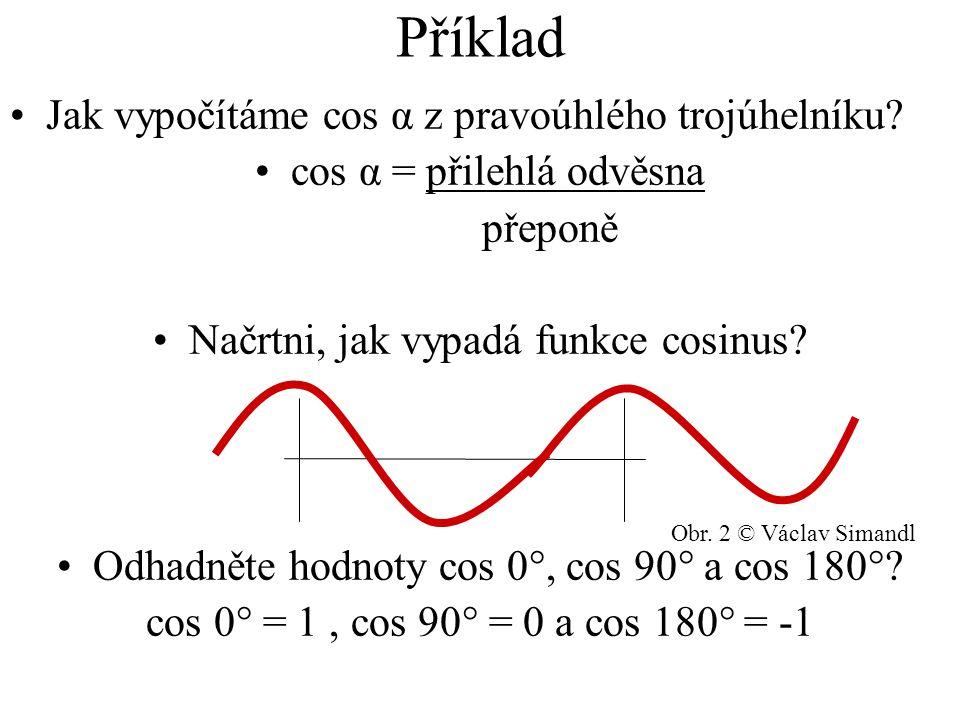 Příklad Jak vypočítáme cos α z pravoúhlého trojúhelníku.