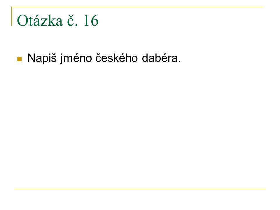 Otázka č. 16 Napiš jméno českého dabéra.