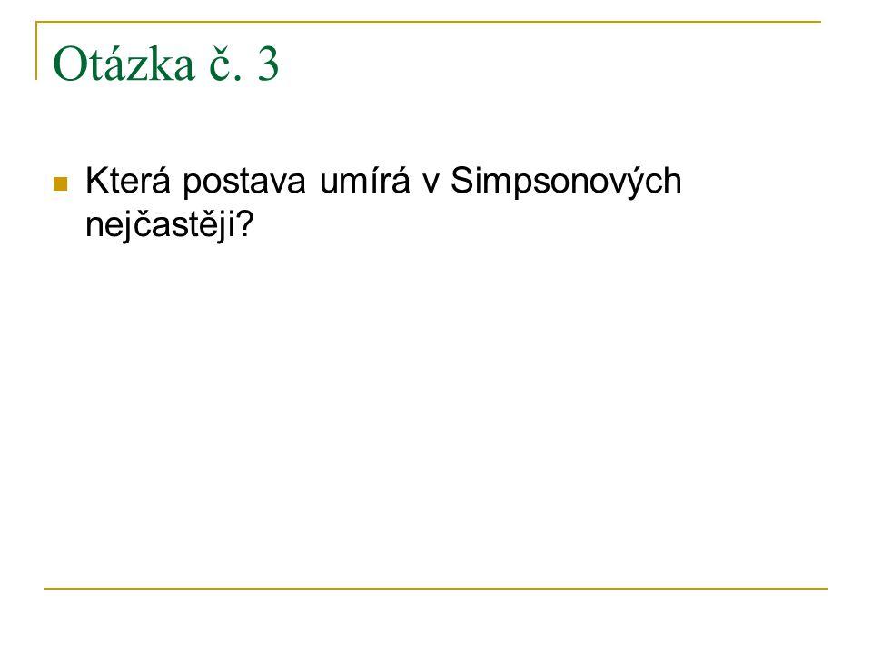 Otázka č. 3 Která postava umírá v Simpsonových nejčastěji