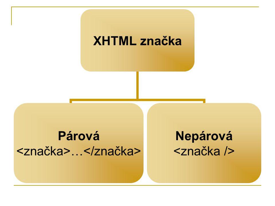 XHTML značka Párová … Nepárová