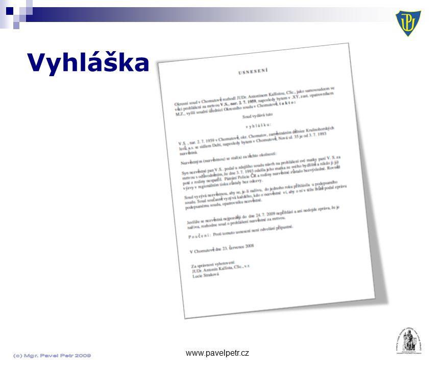 Vyhláška www.pavelpetr.cz