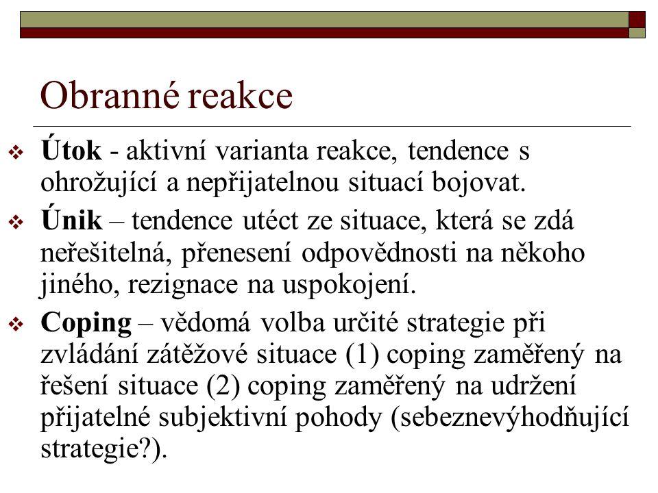 Obranné reakce  Útok - aktivní varianta reakce, tendence s ohrožující a nepřijatelnou situací bojovat.