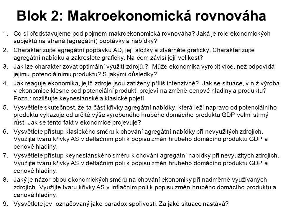 Blok 2: Makroekonomická rovnováha 1.Co si představujeme pod pojmem makroekonomická rovnováha? Jaká je role ekonomických subjektů na straně (agregátní)