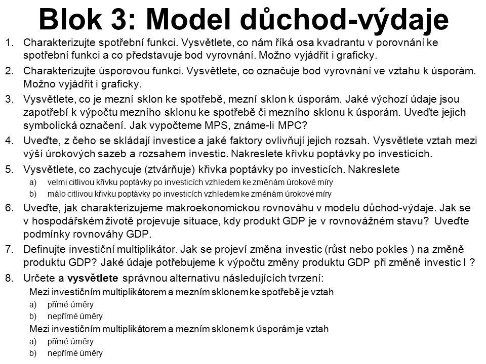 Blok 3: Model důchod-výdaje 1.Charakterizujte spotřební funkci. Vysvětlete, co nám říká osa kvadrantu v porovnání ke spotřební funkci a co představuje