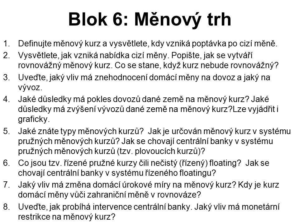 Blok 6: Měnový trh 1.Definujte měnový kurz a vysvětlete, kdy vzniká poptávka po cizí měně. 2.Vysvětlete, jak vzniká nabídka cizí měny. Popište, jak se