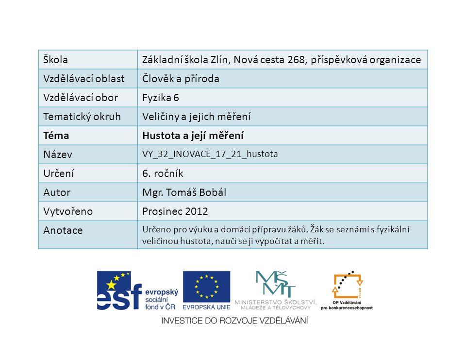 ŠkolaZákladní škola Zlín, Nová cesta 268, příspěvková organizace Vzdělávací oblastČlověk a příroda Vzdělávací oborFyzika 6 Tematický okruhVeličiny a j